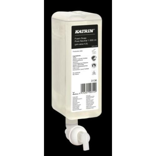 KATRIN 3136 (95427) habszappan, Pure Neutral (illatmentes, szagsemlegesítő), 1000 ml (2500 adag/patron, 6 patron/karton) - ÖKO