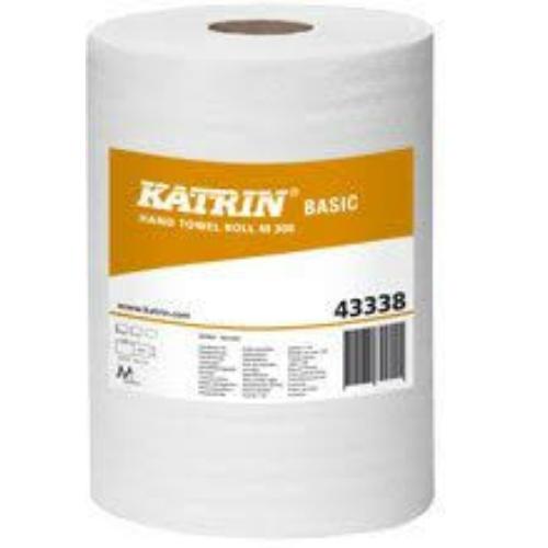 KATRIN 43338 Basic M kéztörlő papír, 1 rétegű, természetes fehér (30 méter/guriga, 6 guriga/karton)
