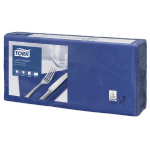 TORK 477215 Lunch Advanced szalvéta, 2 rétegű, 33x33 cm (1/4-es hajtogatással: 16x16 cm), sötétkék (200 lap/csomag, 10 csomag/karton)