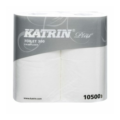 KATRIN 105003 Plus Easy Flush vízben oldódó toalettpapír, 2 rétegű, 11-es, 100% cellulóz, hófehér (300 lap/guriga, 4 guriga/csomag) - ÖKO