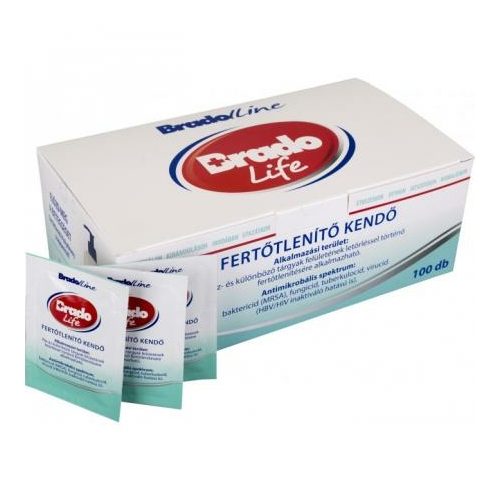 BradoLife fertőtlenítő kendő, egyesével csomagolt (100 db/doboz)
