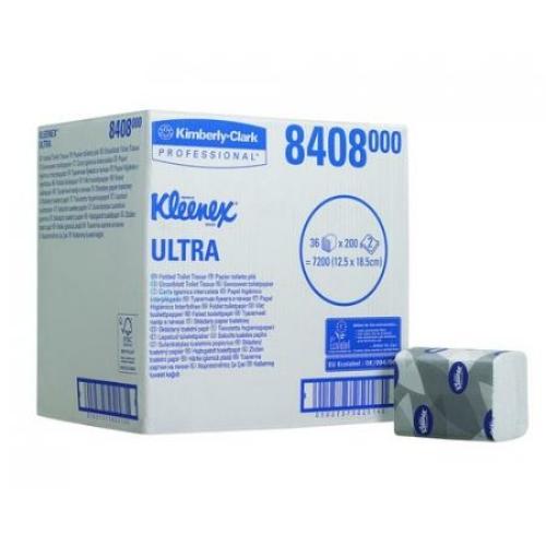 KC8408Kleenex Ultra Toilet Tissue hajtogatotttoalettpapír, 2 rétegű,fehér (200 lap/csomag, 36 csomag/karton)