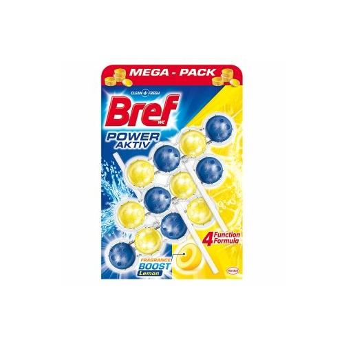 Bref Power Aktiv toalettfrissítő, Lemon (citrom), Mega Pack 3x50 g