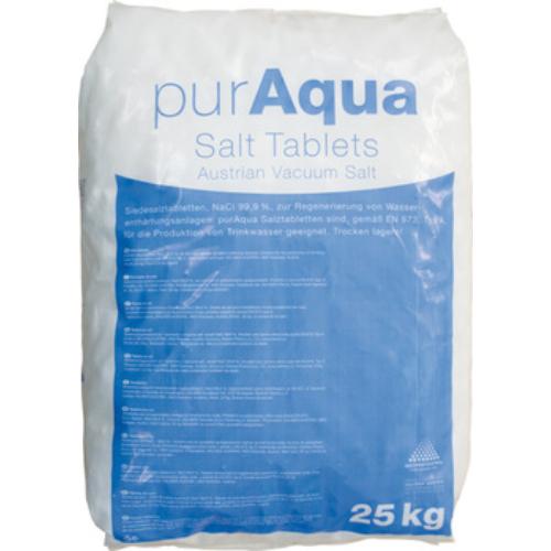 PurAqua regeneráló sótabletta gépi vízlágyításhoz, 25 kg