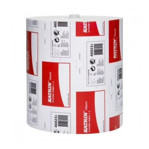 KATRIN 46023 Classic System L2 kéztörlő papír, 2 rétegű, 20-as, hófehér (200 méter/guriga, 6 guriga/zsugor) - ÖKO