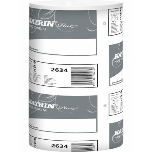KATRIN 2634 Plus S2 belsőmagos kéztörlő papír, 2 rétegű, 14-es, magas minőségű, hófehér (261 lap/guriga, 60 méter/guriga, 12 guriga/zsugor) - ÖKO
