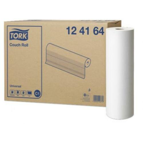 TORK 124164 Universal vizsgálóasztal terítő, 1 rétegű, 19-es, 58x40 cm/lap, fehér (463 lap/tekercs, 185 méter/tekercs, 2 tekercs/karton)