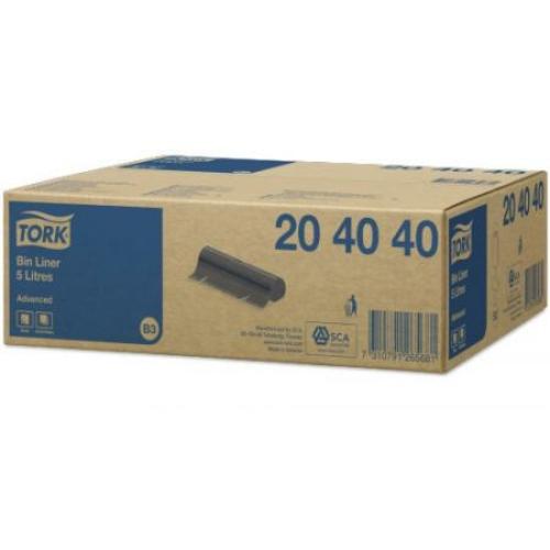 TORK 204040 Advanced hulladékgyűjtő zsák, 5 L, fekete (50 darab/tekercs, 20 tekercs/karton)