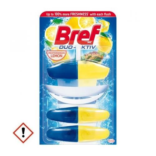 Bref Duo-Aktiv toalettfrissítő utántöltő, Mediterranean Lemon (mediterrán citrom), 3x60 ml