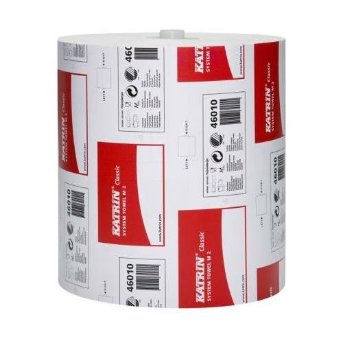 KATRIN 46010 Classic System M2 kéztörlő papír, 2 rétegű, 19-es, hófehér (160 méter/guriga, 6 guriga/zsugor) - ÖKO