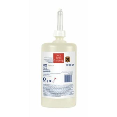 TORK 409801 kézfertőtlenítő folyékony szappan, alkoholos illatú, áttetsző, 1 L, 1000 adag (6 flakon/karton)