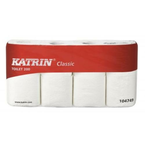 KATRIN 10474 Classic kis gurigás toalettpapír, 2 rétegű, 11-es, fehér (200 lap/guriga, 8 guriga/csomag, 7 csomag/zsák)