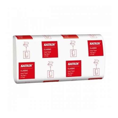 KATRIN 42593 Classic Hand Towel Zig Zag hajtogatott kéztörlő papír, 2 rétegű, fehér (200 lap/csomag, 20 csomag/karton)