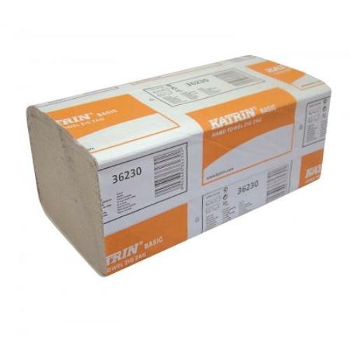 KATRIN 36230 Basic Hand Towel Zig Zag hajtogatott kéztörlő, 1 rétegű, natúr (20 csomag/karton)
