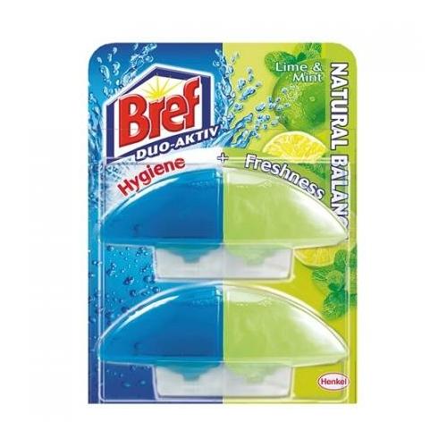 Bref Duo-Aktiv toalettfrissítő utántöltő, Lime & Mint, 2x60 ml