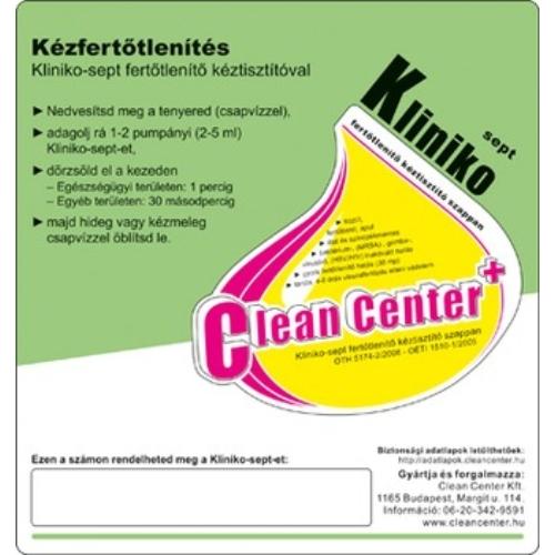 Kliniko-Sept kézfertőtlenítés kísérő matrica