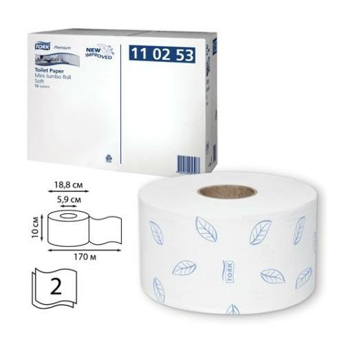 TORK 110253 Soft Mini Jumbo Premium toalettpapír, 2 rétegű, 19-es, fehér (850 lap/guriga, 170 méter/guriga, 12 guriga/zsugor)